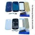 Для Samsung Galaxy S3 mini i8190 Полный Полный Дело Корпус и Кнопки + Передняя Экран Стеклянный Объектив + Инструменты, бесплатная Доставка & Отслеживая Номер