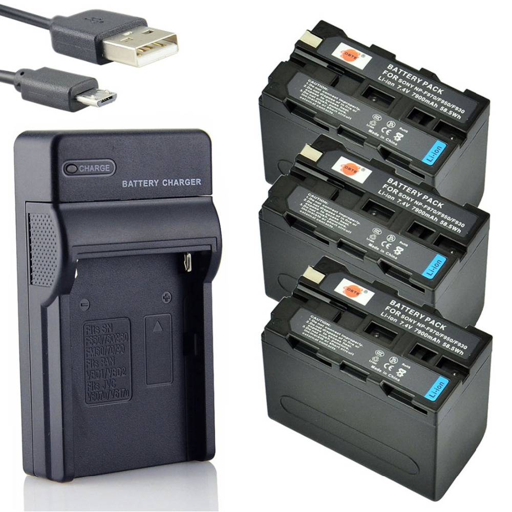DSTE 3pcs NP-F970 np-f970 Li-ion Battery + UDC01 usb charger For Sony CCD-SC5 SC55 DCR-TR7000 TRV103 TRV110 TRV120 Camera dste np bx1 battery