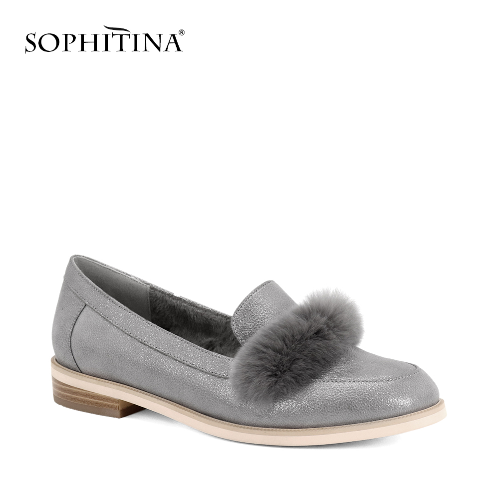 SOPHITIN Flats Shoes Women Genuine Leather With Fur Loafers Slip on Low Heels Round Toe Casual Female Shoes Classic Shoes p108 spring summer flock women flats shoes female round toe casual shoes lady slip on loafers shoes plus size 40 41 42 43 gh8