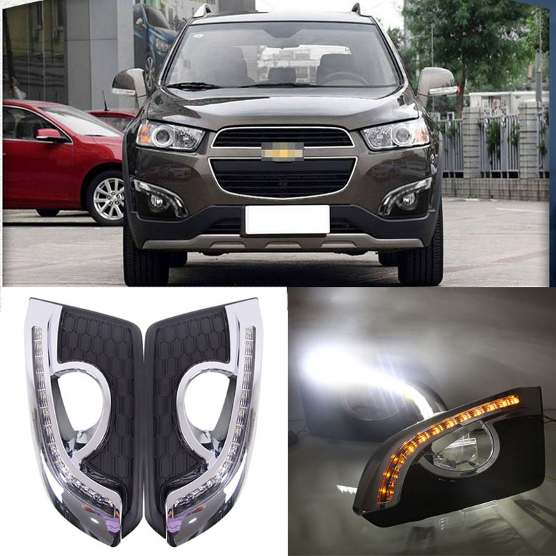Ownsun Brand New Updated LED Daytime Running Lights DRL With Black Fog Light Cover For Chevrolet Captiva 2015 drl for chevrolet captiva 2013 2016 daytime running lights double color led day driving light with lamp door free shipping