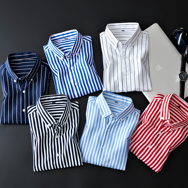 Business Striped Casual Long Sleeved Shirt 5