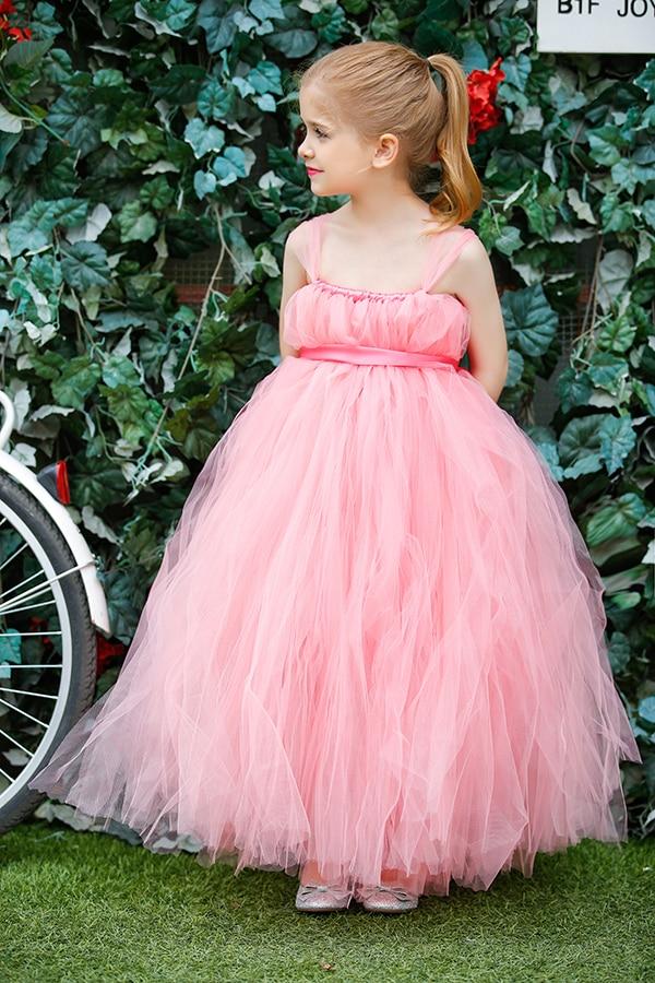 Esponjoso de color rosa hermosa niña de las flores tutú de la boda ...