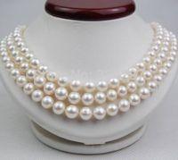 Новые 3 ряда Тройные 8 9 мм AAA белые жемчужные ожерелья 100% стерлингового серебра 925 застежка