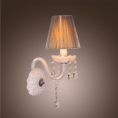 ФОТО Arandela White Crystal Modern Led Wall Light Lamp with Fabric Shade For Bedroom Home Sconces,Bulb Included,E12 E14