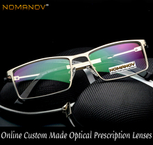 2018 Limited Ultralight Al-mg Titanium Alloy Rectangle Men Eyeglass Frames Spectacle Sivler Gold Brown Custom Prescription Lens