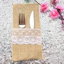 10pcs Vintage Fork & Knife Holder Pocket Jute Burlap Lace Chic Tableware Pouch for Wedding Christmas Party Decoration