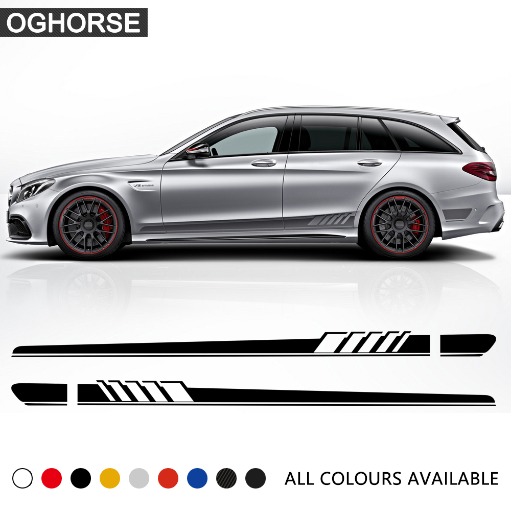 Edition 1 Racing Side Stripe Skirt Vinyl Decal Sticker for Mercedes Benz C Class S205 Estate C180 C200 C300 C63 AMG Accessories