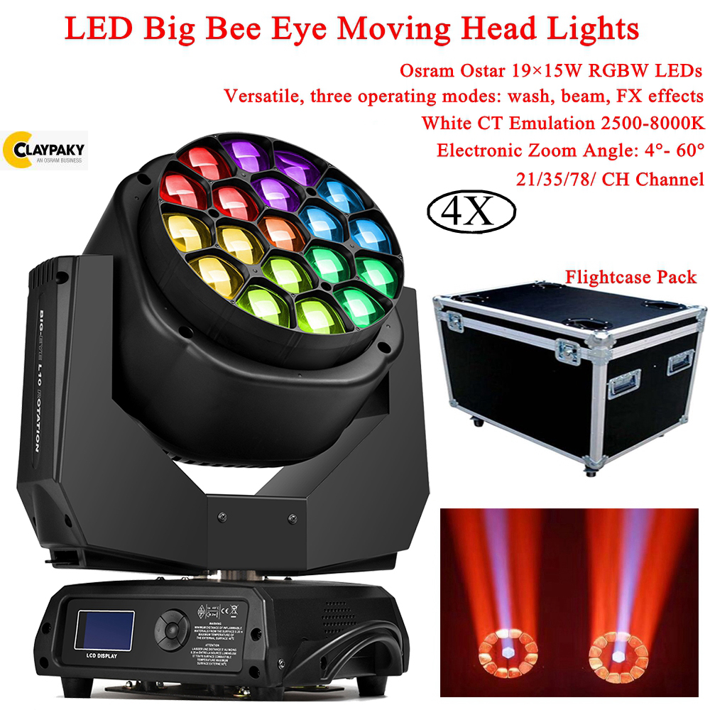 4Pcs/Lot LED RGBW 4IN1 Moving Head Disco Light High Brightness 19X15W LED Beam Wash Moving Head Light DJ Bar Party Stage Effect