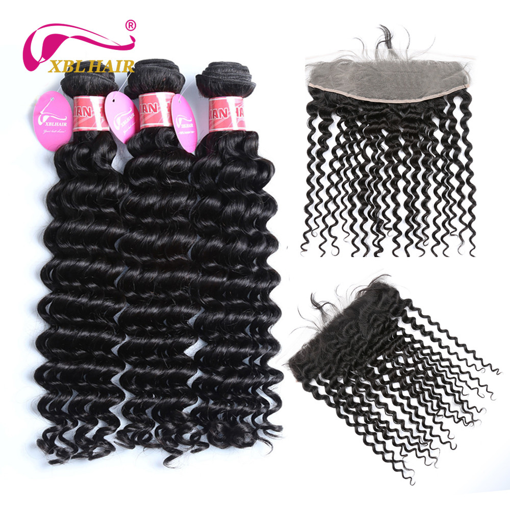 XBL Hair Deep Wave Bundles with Frontal Brazilian Hair Ear to Ear Lace Frontal Closure With Human Hair Bundles Remy Hair