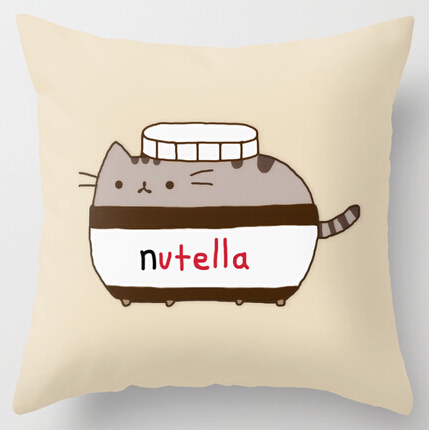 Cool Art Design Cute Funny Nutella Cat Pillow Cases two sides printing for 12 14 16 18 20 ...