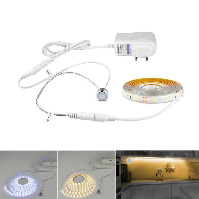 220V 110V Touch Sensor Switch LED Strip Light 12V Flexible adhesive led tape lamp for Bedside Closet PC Screen Backlight Decor