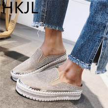 HKJL Single shoe woman 2019 spring new style one pedal thick bottom leisure water drill Korean edition versatile student A712 недорого