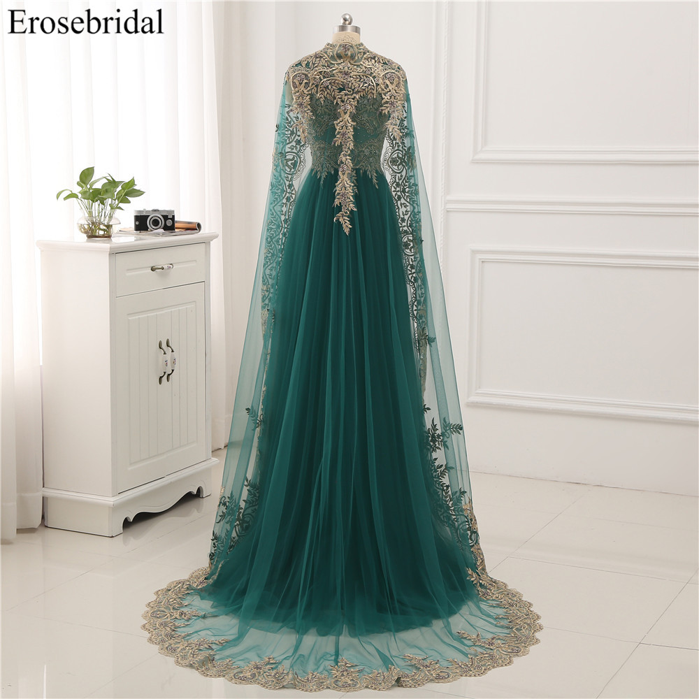 Image 5 - Erosebridal Gold Lace A line Evening Dress Draped Gown Formal Dress Women Elegant with Illuxion Back 7 Color Prom Party Wear-in Evening Dresses from Weddings & Events