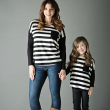 Striped Mother & Daughter Long Sleeve Tops T-shirt Women Kids Girls Clothes New Family Matching Outfit Set