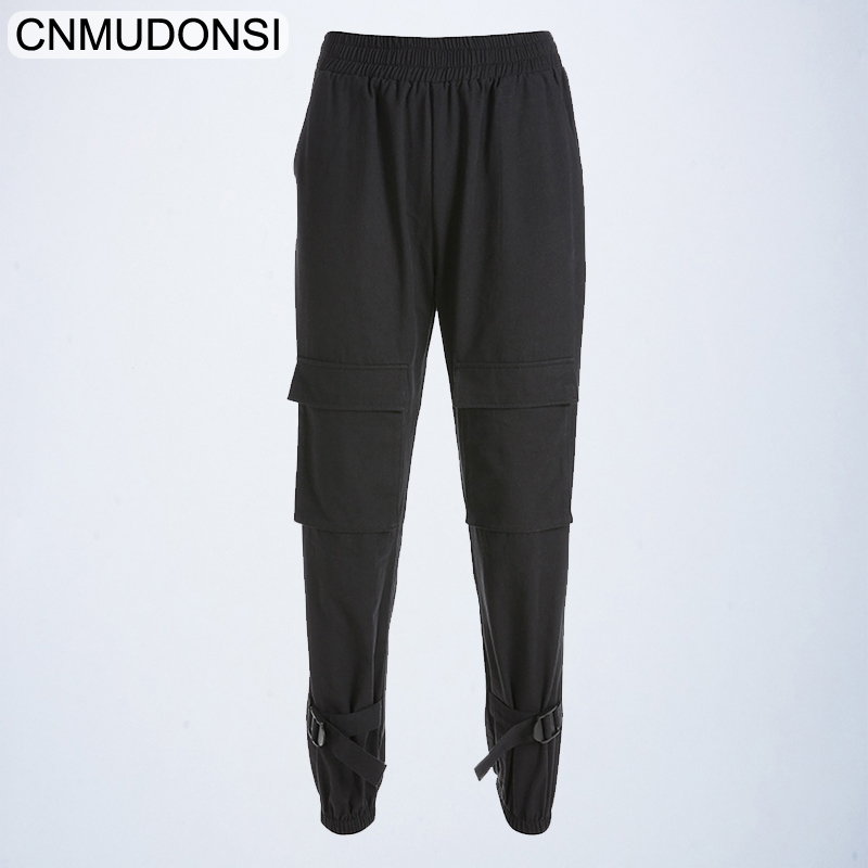 2019 Black Hip Hop Cargo   Pants   Women Harajuku Punk Casual   Pants     Capris   Elastic Loose Female Trousers Ladies Harajuku Sweatpants