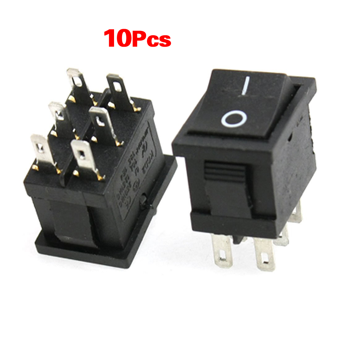 Promotion! 10pcs AC 6A/250V 10A/125V 6 Pin DPDT ON/ON 2 Position Snap In Boat Rocker Switch promotion 5 pcs x red light illuminated double spst on off snap in boat rocker switch 6 pin