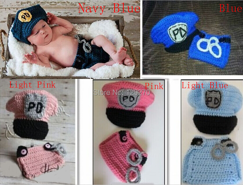 Free Shipping Handmade Crochet Newborn Police Hat And Diaper Cover