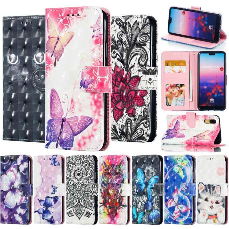 Case For Capa Huawei Enjoy 7S P30 P20 Plus Mate20 Pro Honor 8C 8X 10 9 Lite Y9 Y7 Y6 P9 Butterfly Stand Flip Wallet Cover P02Z
