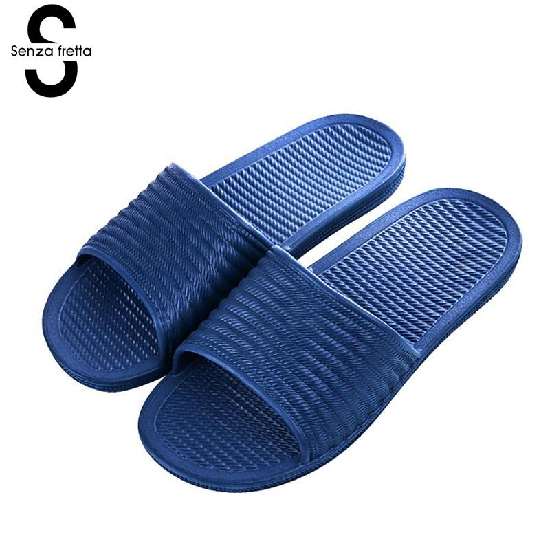 Senza Fretta Men Shoes Summer Indoor Bathroom Couple Men Slippers Home Non-slip Breathable Men Slippers Bathroom Floor Slippers women floral home slippers cartoon flower home shoes non slip soft hemp slippers indoor bedroom loves couple floor shoes