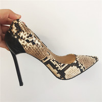 Free shipping fashion women Pumps lady Tan snake python Pointy toe high heels shoes bride wedding shoes 10.5