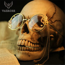 Vazrobe Small Round Eyeglasses Women Lolita Steampunk Glasses Frame Woman Gear Chain Decoration Eyewear female vintage Retro(China)