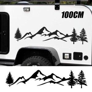 Image 1 - Dla SUV samochód kempingowy Offroad 1pc 100cm czarne/białe drzewo górski wystrój samochodu PET odblaskowe las samochód naklejka naklejka Mayitr
