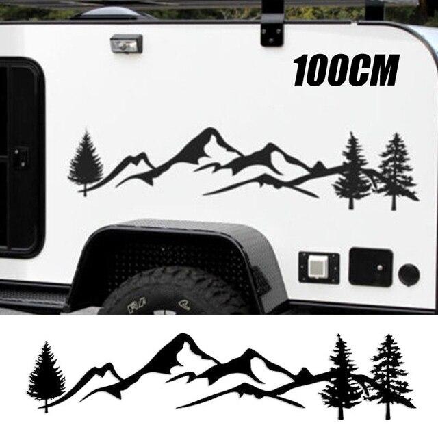 Dla SUV samochód kempingowy Offroad 1pc 100cm czarne/białe drzewo górski wystrój samochodu PET odblaskowe las samochód naklejka naklejka Mayitr