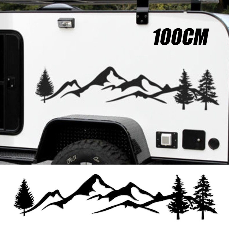 For SUV RV Camper Offroad 1pc 100cm Black/White Tree Mountain Car Decor PET Reflective Forest Car Sticker Decal Mayitr