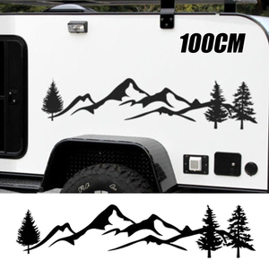 Image 1 - For SUV RV Camper Offroad 1pc 100cm Black/White Tree Mountain Car Decor PET Reflective Forest Car Sticker Decal Mayitr