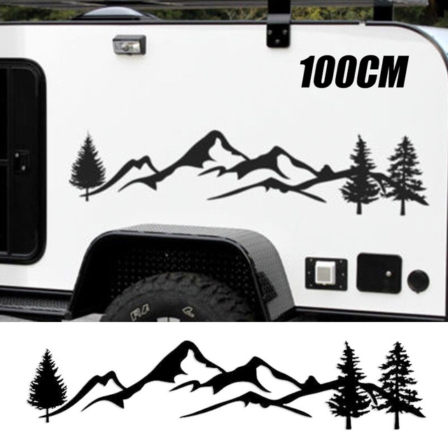 Suvのためのrvキャンピングカーオフロード1pc 100センチメートル黒/白山車の装飾ペット反射森林カーステッカーデカールmayitr