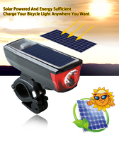 Bike Light Solar Powered USB Rechargeable LED Lamp Horn Bicycle Light Waterproof Cycling Warning Lamp Night