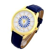Топ Этики Смотреть Женщины ИСКУССТВЕННАЯ Кожа женщины наручные часы повседневная аксессуары Женева Стиль школа студент синий цветок золотые часы