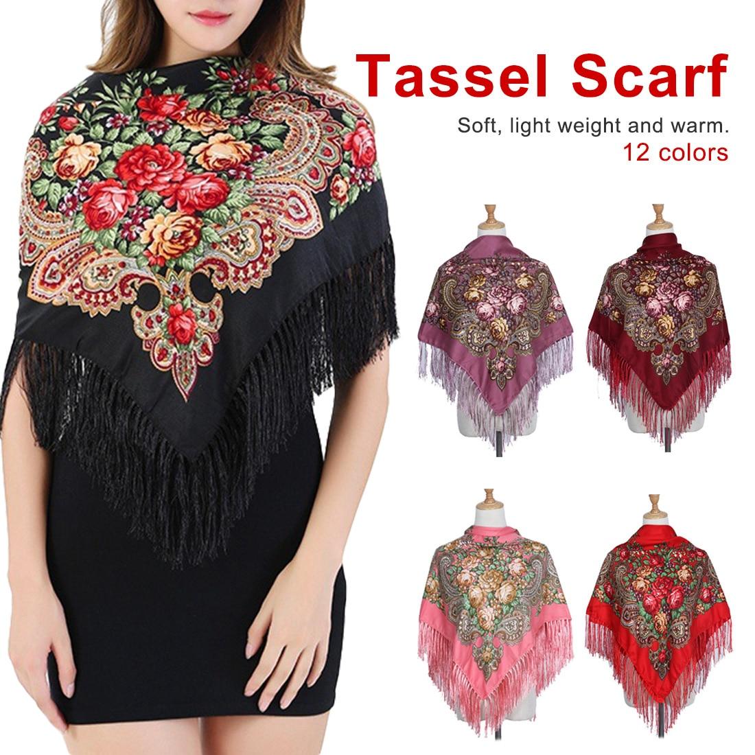 2019 New Brand Women Scarf Square Cotton Shawls And Wraps Lady Pashmina Tassels Bohemia Foulard Winter Female Bandana