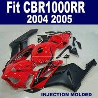 Пользовательские Инъекции обтекатель комплект для Honda 2004 2005 CBR1000RR CBR 1000 RR 04 05 CBR1000 RR Красный Черный ABS Обтекатели части