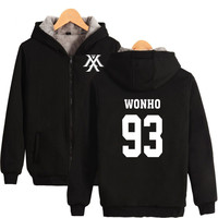 MONSTA X Sweatshirt Women Korean Popular Hip Hop Fans Coats Thickening Kpop Harajuku Hoodies Women Female Zipper Clothe MONSTA X