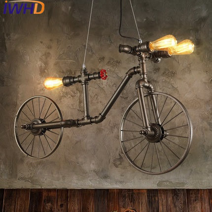 IWHD American Style Bicycle Vintage Pendant Lights Loft Industrial Handing Lamp Water Pipe Light Fixtures E27 220V For Decor iwhd loft style creative retro wheels droplight edison industrial vintage pendant light fixtures iron led hanging lamp lighting