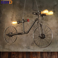 IWHD American Style Bicycle Vintage Pendant Lights Loft Industrial Handing Lamp Water Pipe Light Fixtures E27 220V For Decor