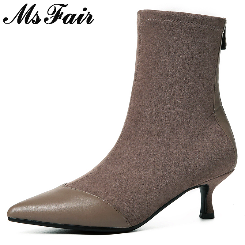 MSFAIR Women Boots Hot Selling Metal Zipper Ankle Boots Women Shoes Pointed Toe Med Heel Boot Shoes Thin Heels Boots For Girl msfair women boots 2018 hot selling crystal ankle boots women shoes pointed toe high heel boot shoes square heel boots for girl
