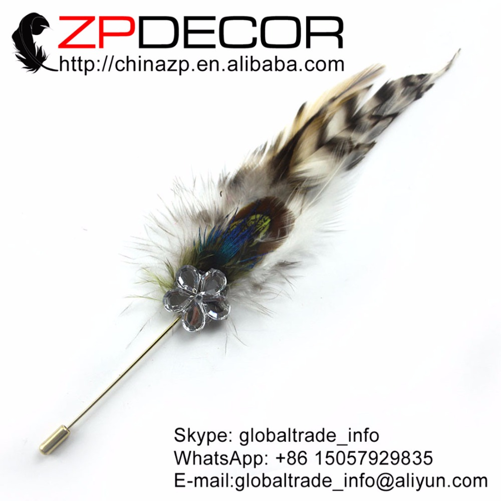 3d133c5fe3f44d ZPDECOR Top 10 pcs lot Qualité Main Naturel Grizzly Coq Selle Plume Broche  De Mariage Accessoire