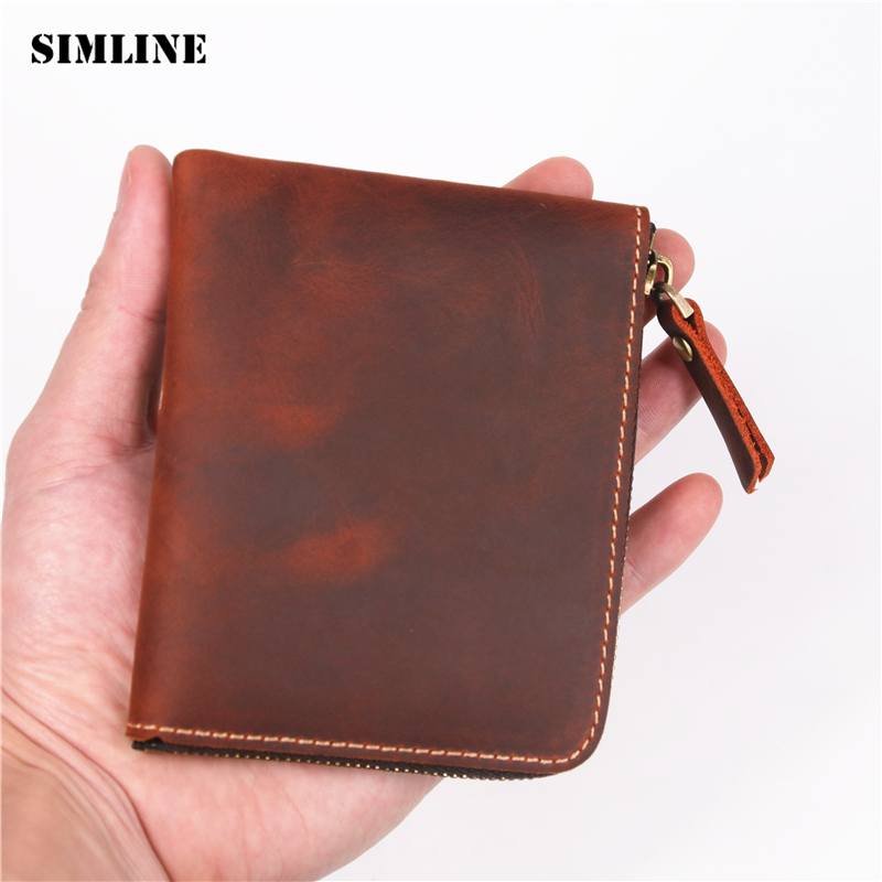 SIMLINE Genuine Leather Men Wallet Men's Vintage Crazy Horse Cowhide Zipper Small Short Slim Wallets Coin Purse Card Holder Man williampolo mens mini wallet black purse card holder genuine leather slim wallet men small purse short bifold cowhide 2 fold bag