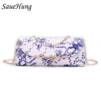 SaueHung Women Handbags Ladies Leisure Fashion Chinese Style Blue And White Porcelain Pattern Women Messenger Shoulder