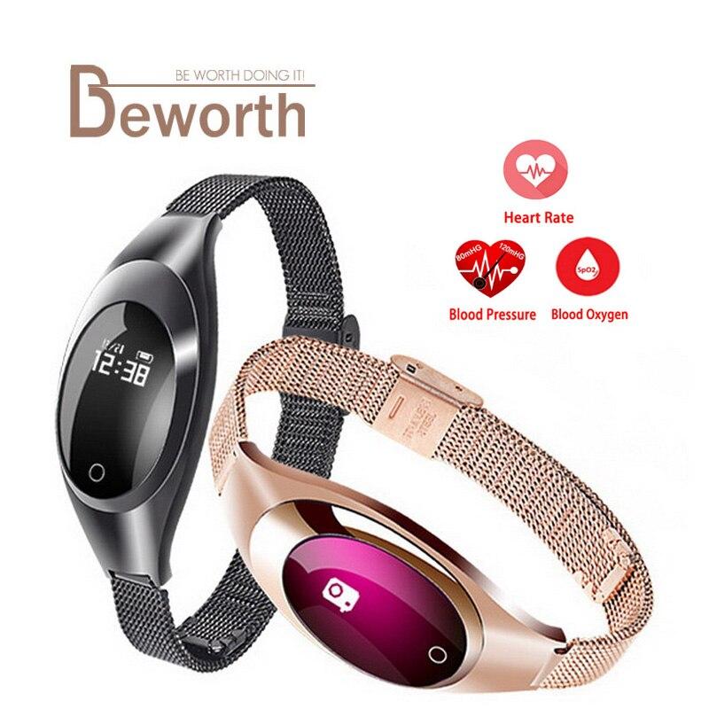 Luxe Femmes Z18 Smart Montre Support Avec La Pression Artérielle Moniteur de Fréquence Cardiaque Fitness Bande Smartwatch Pour Android IOS Téléphone Dame