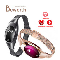 Luxury Women Z18 Smart Watch Bracket With Blood Pressure Heart Rate Monitor Fitness Band Smartwatch For Android IOS Phone Lady