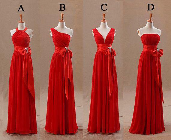 2016 Red Bridesmaids Dresses Uk Tight Pleats Elegant Bow Knot Chiffon Long Designer Plus Size Bridesmaid Party Dresses