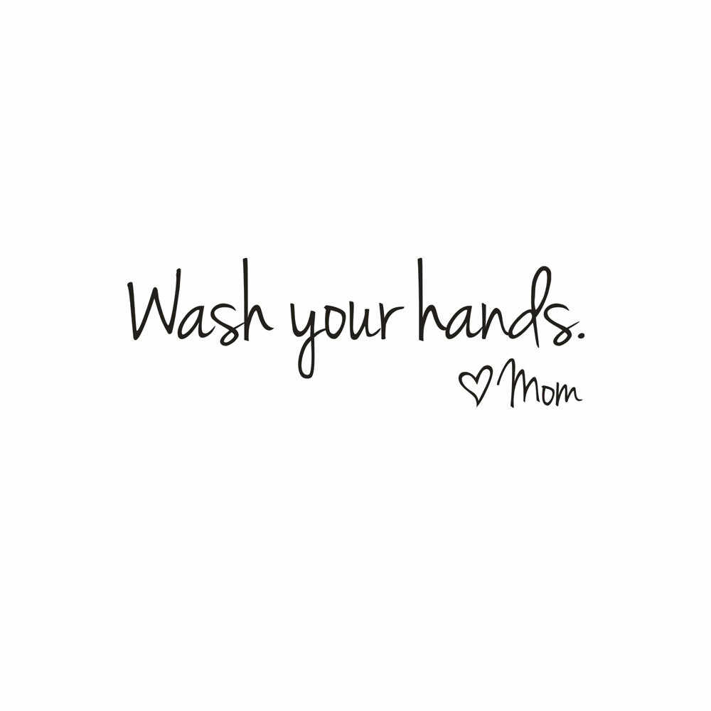 1pc Bathroom DIY Wall Stickers Wash Your Hands Love Mom Waterproof Art Vinyl Decal Bathroom Wall Sticker Home Decor
