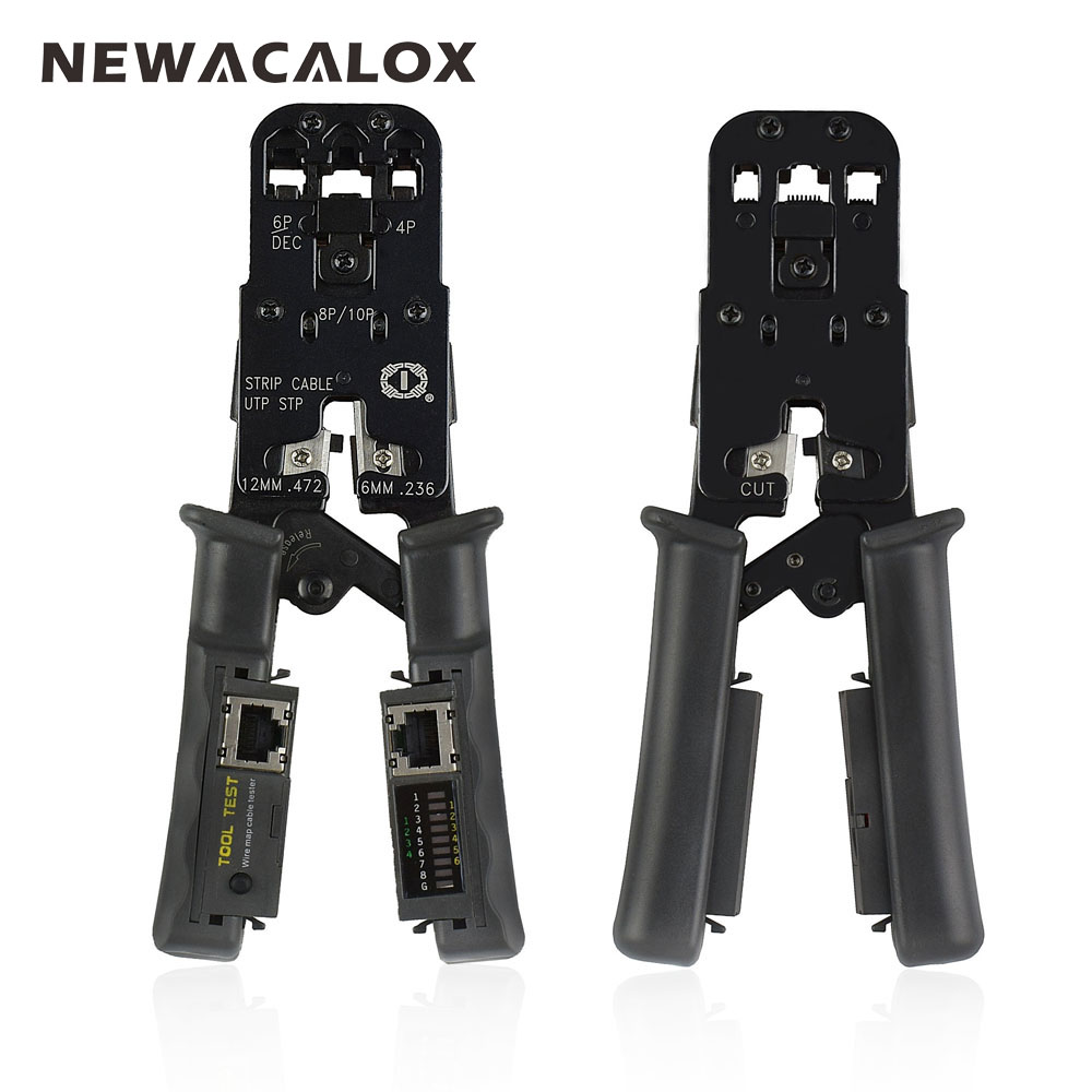 NEWACALOX 4In1 Network Crimping Tool Multifunction Pliers Stripping Cable Tester RJ45 Electric Wire Rope Crimper Cutter Stripper