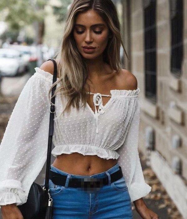 Sexy Crop Top Transparent White Shirt Women Slash Neck Lantern Sleeve Ruffles Dot Blouse Top Lace Up Blusas Femininas T89392