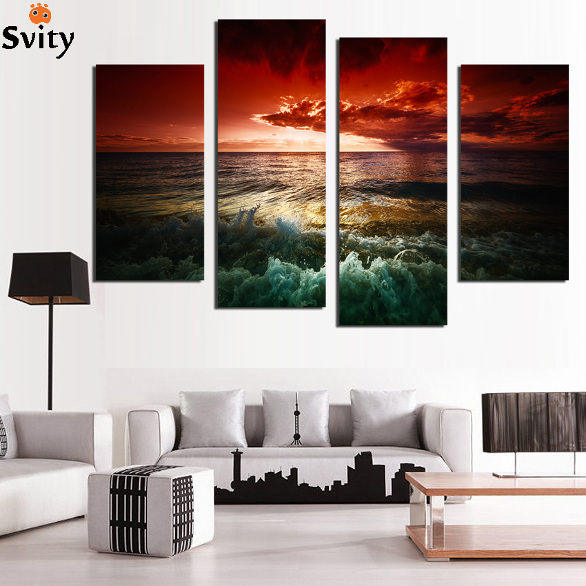Free Shipping Home Decorators: Free Shipping 4Pcs Sunset Seaview Home Decor Wall Art
