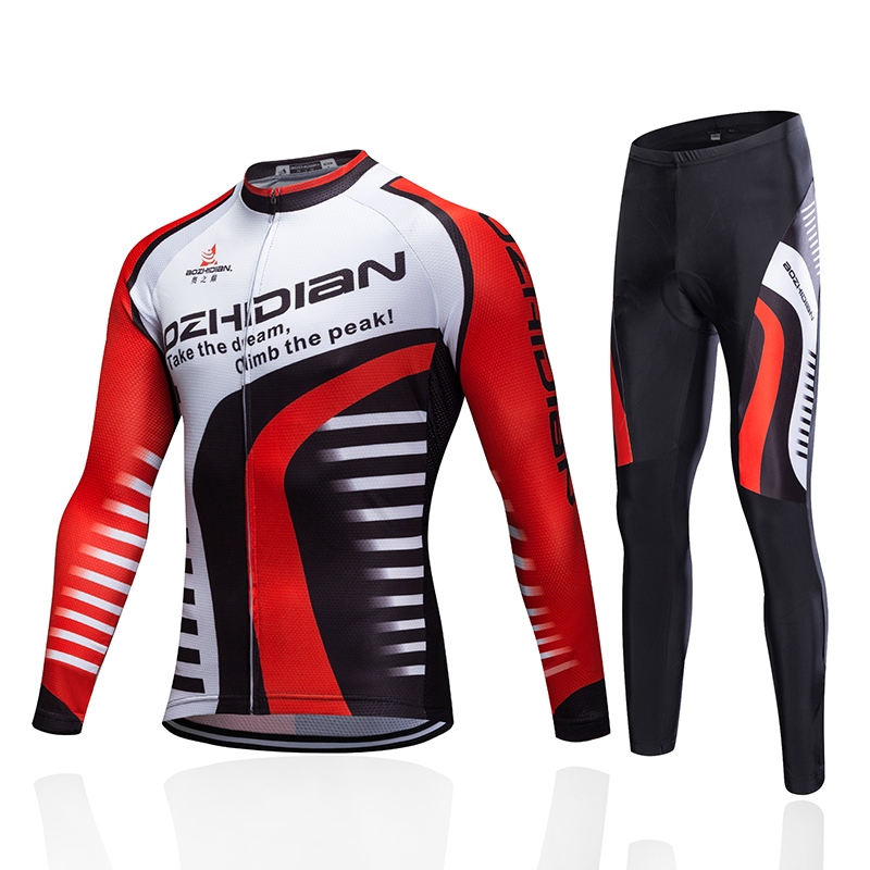 Polyester Mens Cycling Jersey Long Sleeve Outdoor Sports Wear Top Bicycle Cycle Clothing Quick Dry Riding Clothes