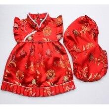 Новые летние комплекты одежды с цветочным рисунком для маленьких девочек, костюмы для младенцев, новогодние китайские топы, платья, короткие штаны, Ципао, чонсам